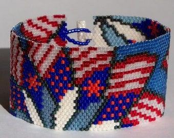Patriotic Pinwheels Peyote Cuff Bracelet