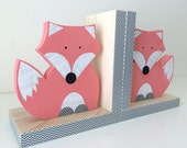 Fox Bookends, Coral Pink, Girl Woodland Nursery, Woodland Kids Decor, Fox Nursery, Forest Themed Nursery, eco friendly