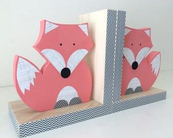 Fox Bookends, Coral Pink, Girl Woodland Nursery, Woodland Kids Decor, Fox Nursery, Forest Themed Nursery, eco friendly
