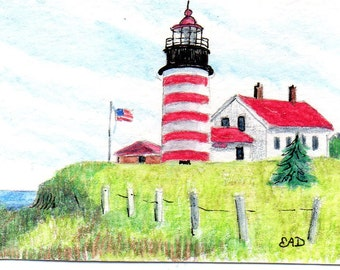ACEO West Quoddy Lubec Maine Lighthouse Print of Original Watercolor