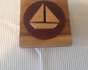 Handmade wooden box with a Sailboat.