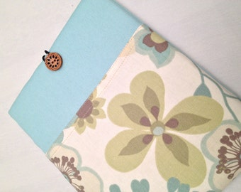 """MacBook 13"""" padded sleeve /MacBook 13""""  with retina /  Made in Maine / spa/muted floral"""
