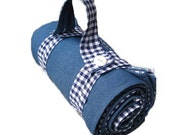 Picnic Blanket in Blue Gingham- Beach Blanket- Waterproof Picnic Blanket- Personalized Wedding Gift