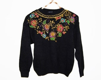 Vintage Sweater Retro Sparkle on Black