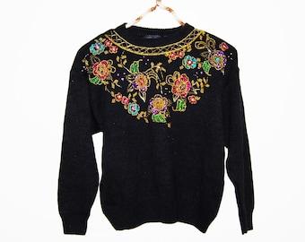Vintage Sweater Retro Sparkle on Black