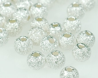 Sterling Silver STARDUST 4mm round beads - 25 pcs