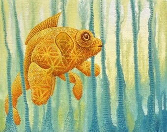 Bubble Eye Goldfish with Sacred Geometry Flower of Life Pattern and Drips, 12x18 in Original Painting on Canvas