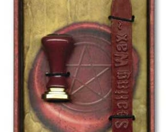 Stationary Supplies Sealing Wax Kit Red wax with wick Pentacle Stamp Design Celtic Wicca personalize customize invitations
