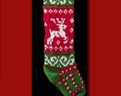 Hand knit Christmas stocking,  Personalized, made of pure wool yarn,  fully lined -- candy cane, snowflake and reindeer