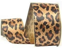 "Leopard Print Ribbon - 1.5"" Satin - 2 Yards 