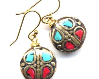 Nepal Earrings, Tibetan Earrings, Turquoise, Coral,18K Gold Filled Wire - Handmade Nepal Jewelry by AnnaArt72