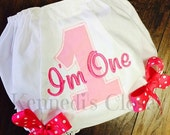 I'm One birthday Bloomers and bows light pink and hot pink