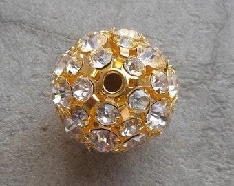 Gold plated balls - Crystal balls - Rhinestone balls - Gold plated beads - 10 pcs - supplies