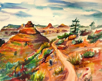 "ORIGINAL Canyon Path Grand Canyon original watercolor 9""x12"" southwest painting"
