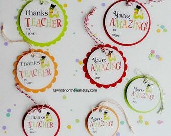 Teacher Appreciation Gift Tag / Teacher Appreciation Gift Ideas / Thanks Teacher Tags ? You're Amazing Tags