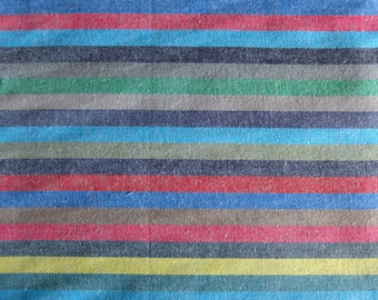 Japanese Fabric - Colorful Stripes on Blue - Cotton Fabric By The Yard - Half Yard