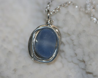 RARE cornflower blue beach sea glass 925 sterling silver wire wrapped necklace and sterling silver  chain