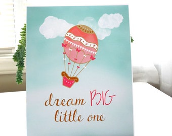 Dream Big Little One / Hot Air Balloon Print / Baby Nursery Art / Coral Gold Mint / Girls Nursery Decor