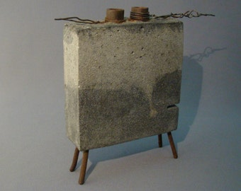 GRASETTA - A Double Bud Vase of Concrete, Steel, and Iron - Tonal Grey and Warm Rusts