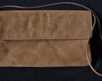 Vintage Envelope Clutch shoulder  Bag -Brown  Corduroy  Handbag 1980s Measures 13 x 7  On SaLe Now