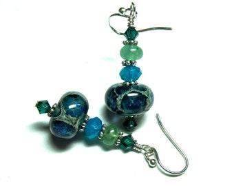 Handmade Organic Earrings, Lampwork Earrings, Glass Earrings, Blue Green Earrings, Petite Earrings, Beaded Earrings, Artisan Earrings