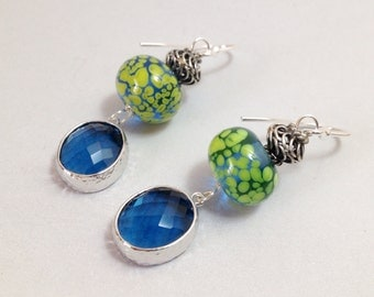 Navy Blue Glass Earrings - Faceted Glass Drops and Lampwork Glass on Silver-Filled Hooks (E-484)