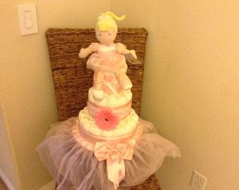 Ballet diaper cake baby shower gift centerpiece