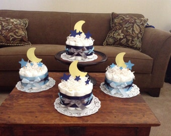 Moon and Stars Whimsical Diaper Cake Baby Shower Centerpiece bundt cake size other toppers and colors prices too