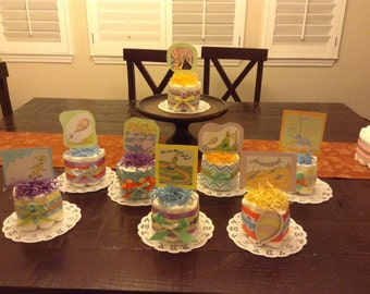 Oh the places you will go baby shower centerpieces mini cake diaper cakes Baby Shower Centerpiece Diaper Cake