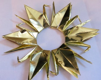 """20 or 40 Origami Paper Cranes in Metallic Gold - 3"""" or 6"""" available"""