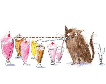 Cat Print - A5 Giclee Print - Cat Illustration - Gift For Cat Lover - Cat Wall Art - Cat Home Decor - Cat Drawing - Kitchen Decor Milkshake