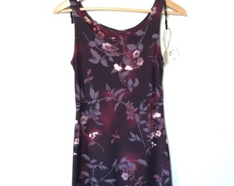 Vintage maroon floral 90's dress. Short grunge dress. Small Medium