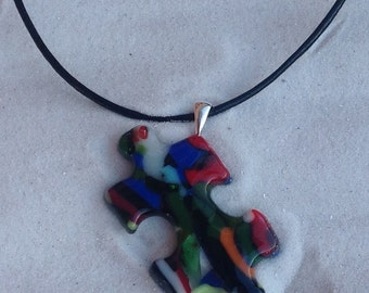 Autism Puzzle Piece Pendant, Fused Glass Puzzle Pendant, Autism Awareness with Sterling Silver Bail