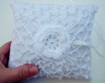 Pattern Crochet Wedding Lace Ring Bearer Pillow (pin cushion) Pillow