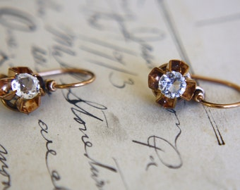 ANTIQUE PASTE ROSEGOLD Victorian era 9k gold vintage buttercup pierced earrings circa 1870