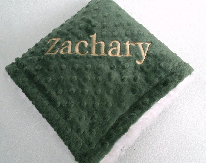 Olive Green Minky Blanket for Baby Boy, three sizesCan Be Personalized