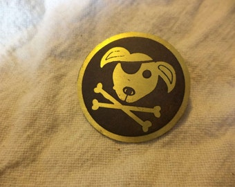 puppy and crossbones pirate pin
