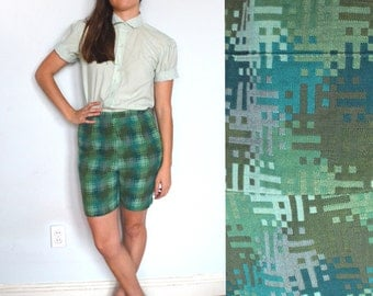 60's Green Woven Abstract Geometric Shorts/ Cotton Clam Diggers/ Size S