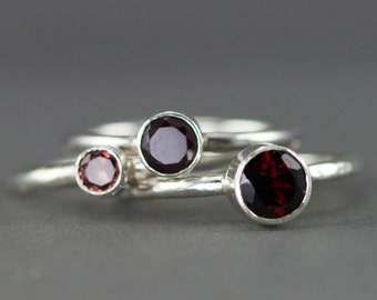 Garnet Stacking Rings or Rhodolite Garnet Stack Rings - January Birthstone Rings - Sterling Gemstone Rings