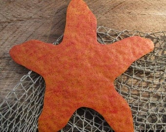 Metal wall art marine - Starfish - reclaimed metal ocean theme sculpture wall hanging decor  red orange
