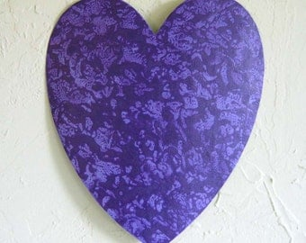 Metal art heart wall sculpture Valentines heart upcycled metal wall hanging purple lavender textured 11 x 12  inch