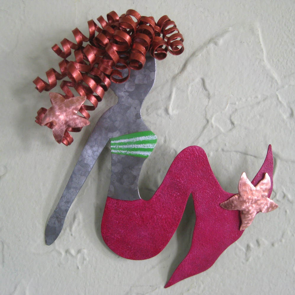 Mermaid Art Wall Sculpture Lily Recycled By