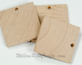 25 Pack 1 inch Wood Squares with hole Drilled for your Pendants and Magnets, Wood Tiles  (23-20-141)