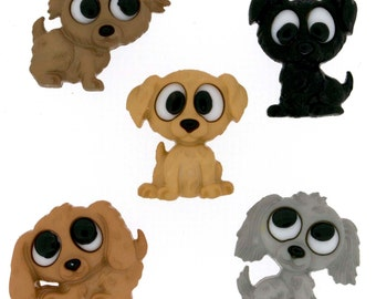 Playful Puppies Jesse James Buttons Set of 5