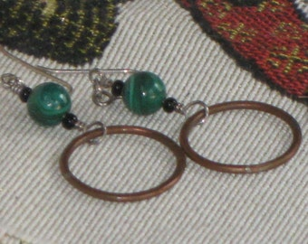 MALACHITE and aged COPPER HOOP dangle earrings