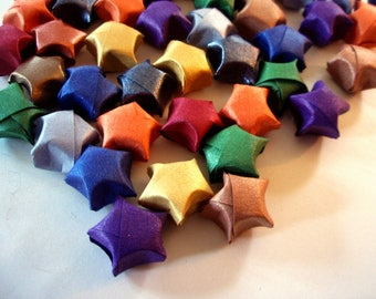 Origami Stars -  20 Metallic Sheen Rainbow Origami Lucky Stars - Confetti, Party Favor, Gift Enclosure, Art or Craft Supply - Paper Stars