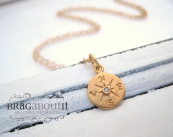 Compass Charm Necklace .  Gold And Diamond Compass Necklace . Layering Necklace . Brag About It