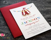 Circus Tent Invitations · A6 FLAT · Under the Big Top | First Birthday Party | Carnival Baby Shower Invitation | Carnival Party Invites