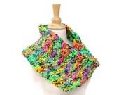 Neon knit scarf, neon knit cowl, knit infinity scarf, moebius loop scarf, knit cowl scarf, rainbow scarf, warm winter scarf,knit neckwarmer