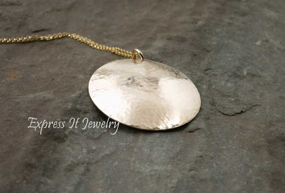 14K Gold Filled Hammered and Domed Large Charm Necklace